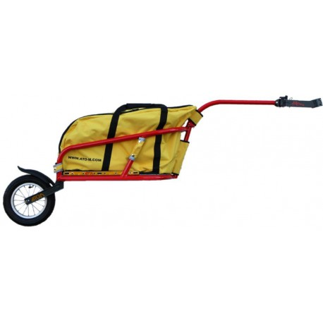 Red Žeryk with yellow bag and seatpost hitch