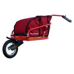 ATO-M Žeryk - nákladní vozík za kolo červený s červenou taškou a přípojkou ke kolu na sedlovku