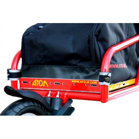 ATO-M Žeryk - nákladní vozík za kolo červený s černou taškou a přípojkou ke kolu na sedlovku