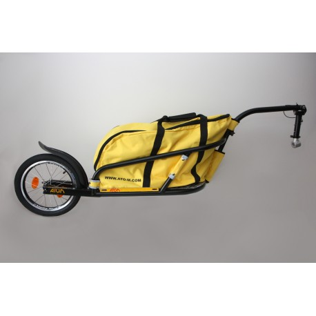 "Black Žeryk 16"" with yellow bag and seatpost hitch"