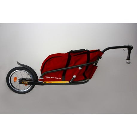 """ATO-M Žeryk 16"""" - nákladní vozík zaa kolo černý s červenou taškou a přípojkou ke kolu na sedlovku"""