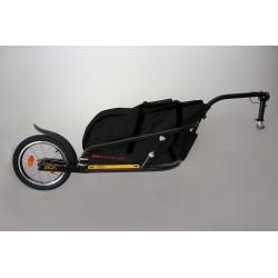 """ATO-M Žeryk 16"""" - nákladní vozík za kolo černý s černou taškou a přípojkou ke kolu na sedlovku"""