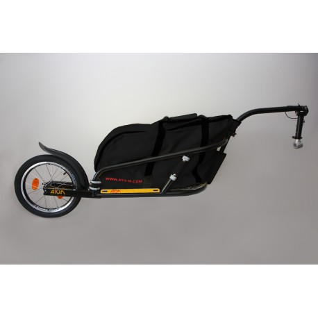 """Black Žeryk 16"""" with black bag and seatpost hitch"""