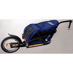 "Žeryk 16"" with blue pet bag and seatpost hitch"