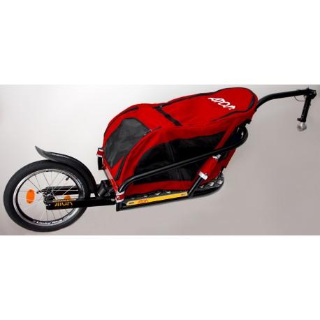 """ATO-M Žeryk 16"""" s červenou taškou na zvířata a přípojkou ke kolu na sedlovku - vozík za kolo pro psy"""