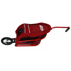 ATO-M Žeryk s červenou taškou na zvířata a přípojkou ke kolu na sedlovku - vozík za kolo pro psy